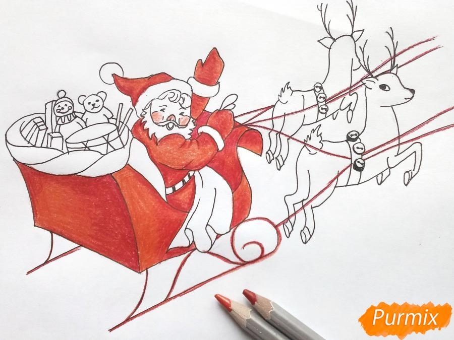 Рисуем сани Деда Мороза с оленями - фото 7