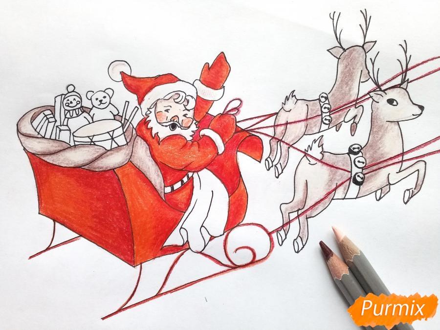 Рисуем сани Деда Мороза с оленями - фото 8
