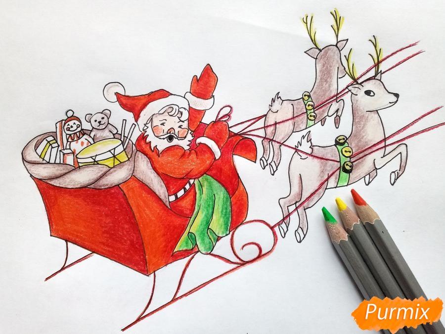 Рисуем сани Деда Мороза с оленями - фото 9
