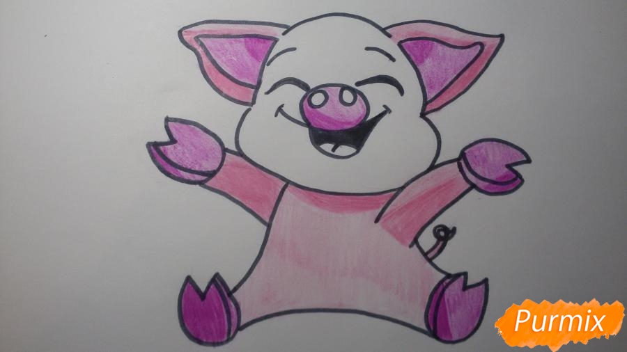 Рисуем счастливую свинью: символ 2019 года - шаг 7