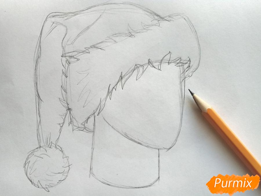 Рисуем шапку Деда Мороза цветными карандашами - шаг 4