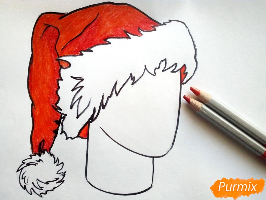 Рисуем шапку Деда Мороза цветными карандашами - шаг 6