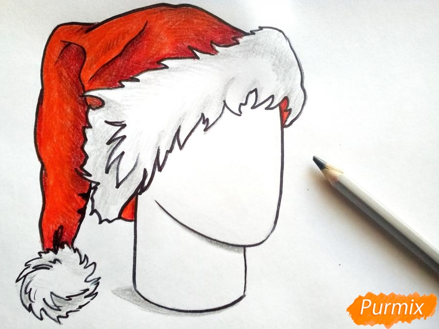 Рисуем шапку Деда Мороза цветными карандашами - шаг 8