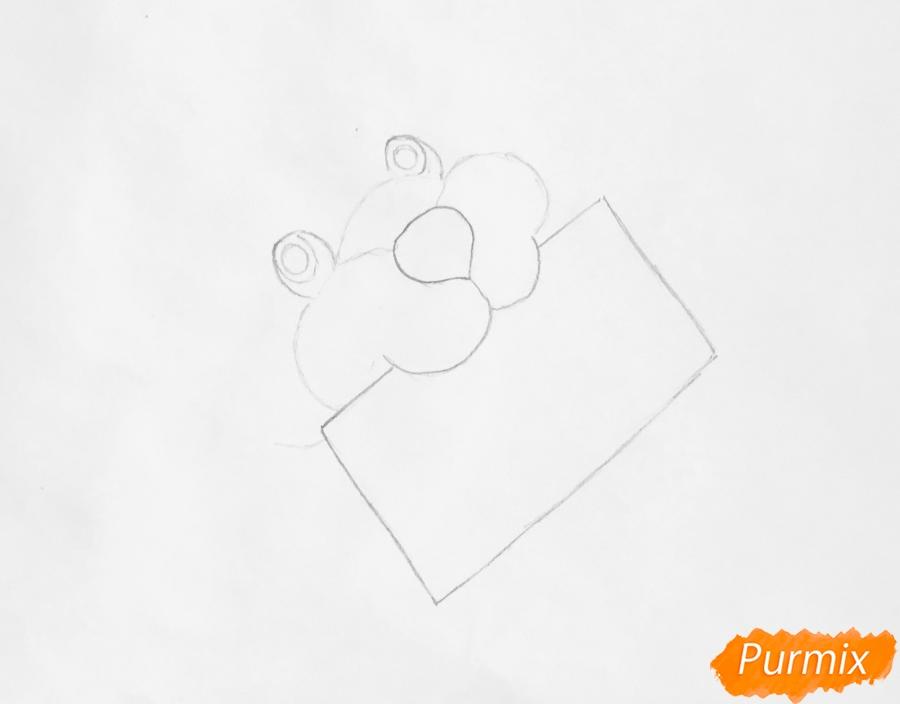 Рисуем щеночка с открыткой с надписью С Новым Годом - шаг 2