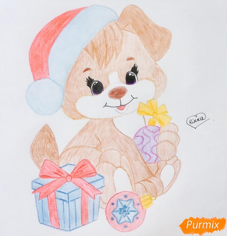 Рисуем щеночка в шапочке и с подарком и новогодними игрушками - шаг 10
