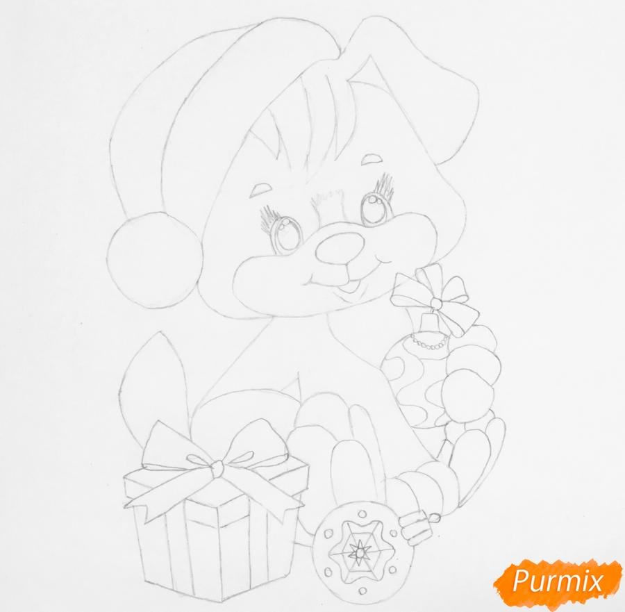 Рисуем щеночка в шапочке и с подарком и новогодними игрушками - шаг 6