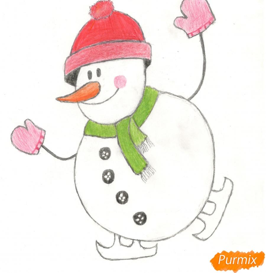 Рисуем снеговика катающегося на коньках - шаг 11