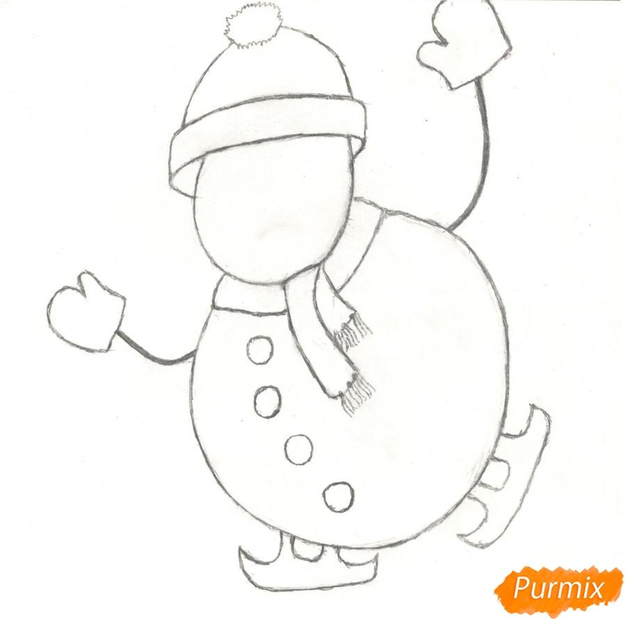 Рисуем снеговика катающегося на коньках - шаг 4