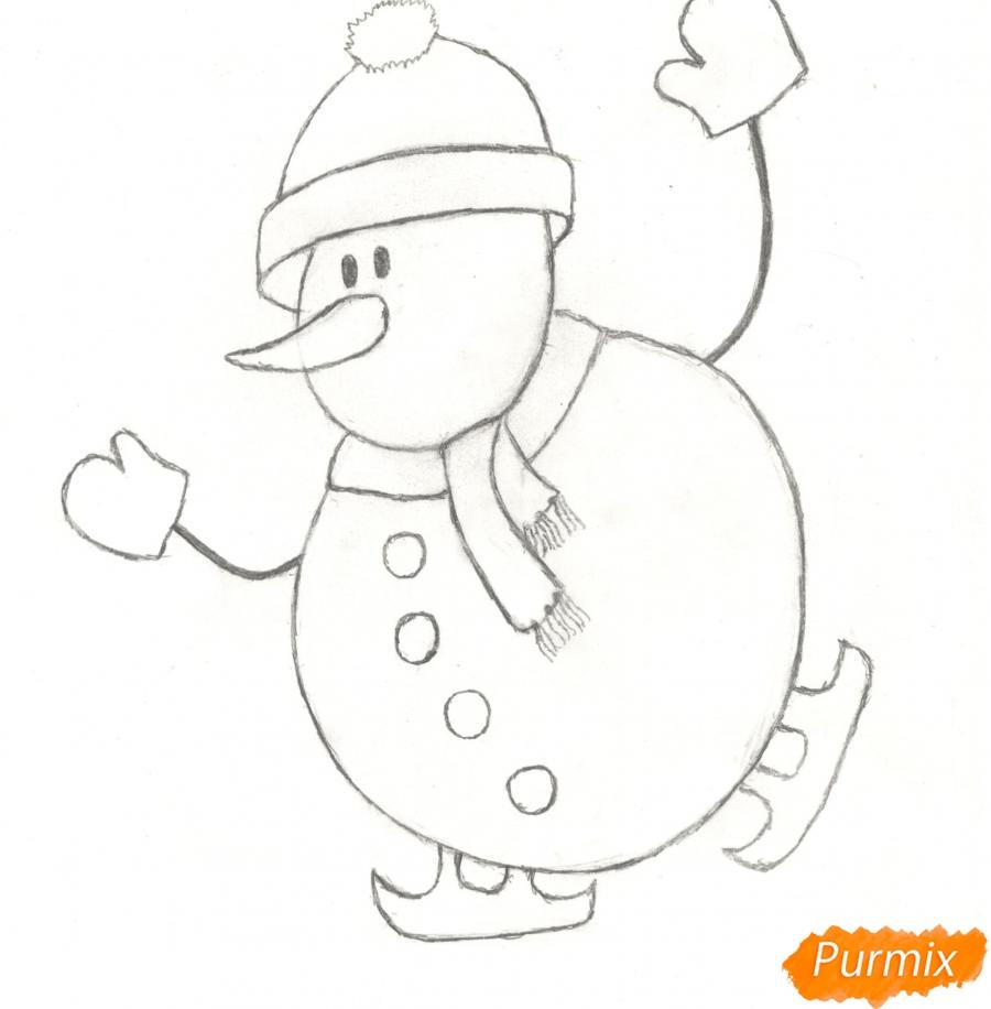 Рисуем снеговика катающегося на коньках - шаг 5