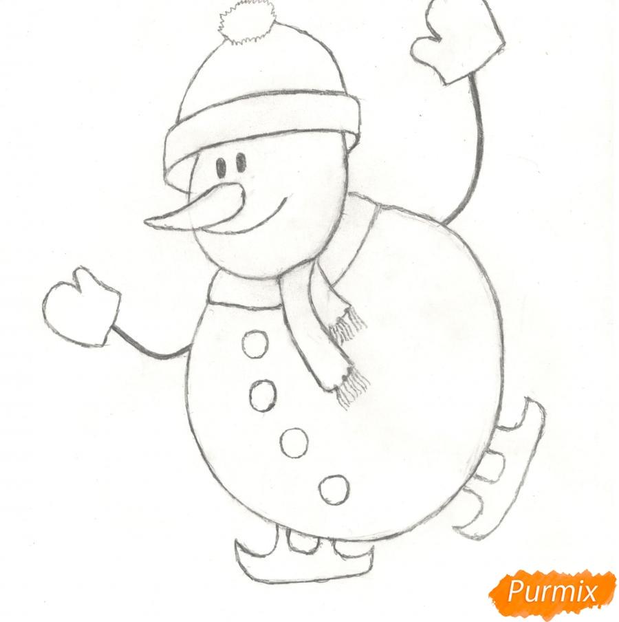 Рисуем снеговика катающегося на коньках - шаг 6