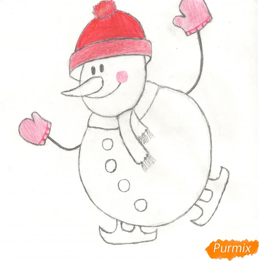 Рисуем снеговика катающегося на коньках - шаг 8
