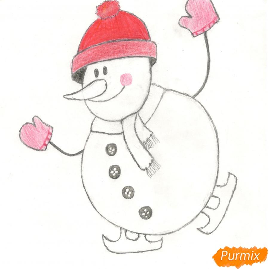 Рисуем снеговика катающегося на коньках - шаг 9