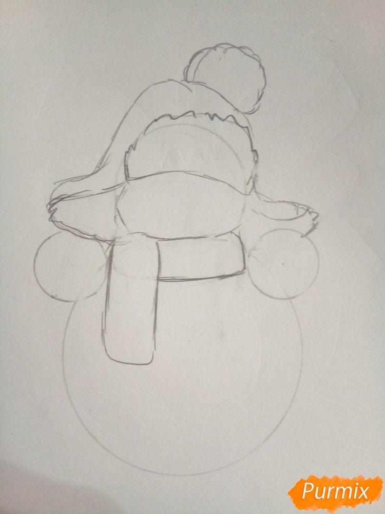 Рисуем снеговика в шапке-ушанке - шаг 2