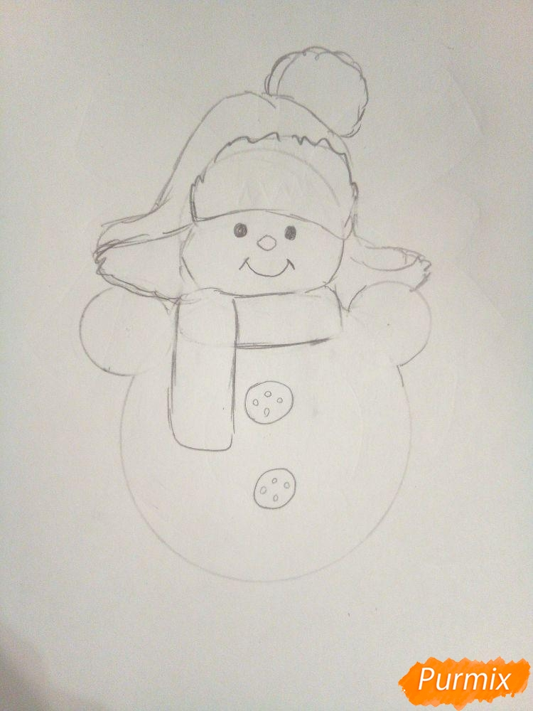 Рисуем снеговика в шапке-ушанке - шаг 3