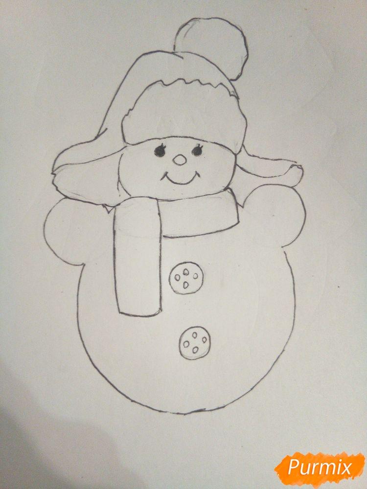 Рисуем снеговика в шапке-ушанке - шаг 4