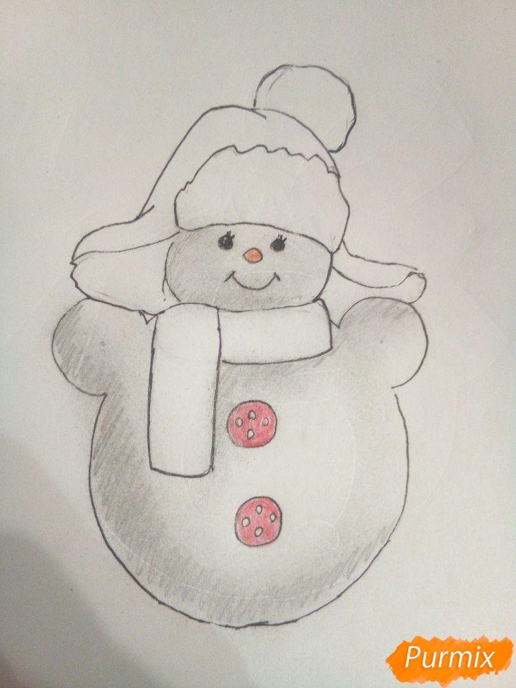 Рисуем снеговика в шапке-ушанке - шаг 5