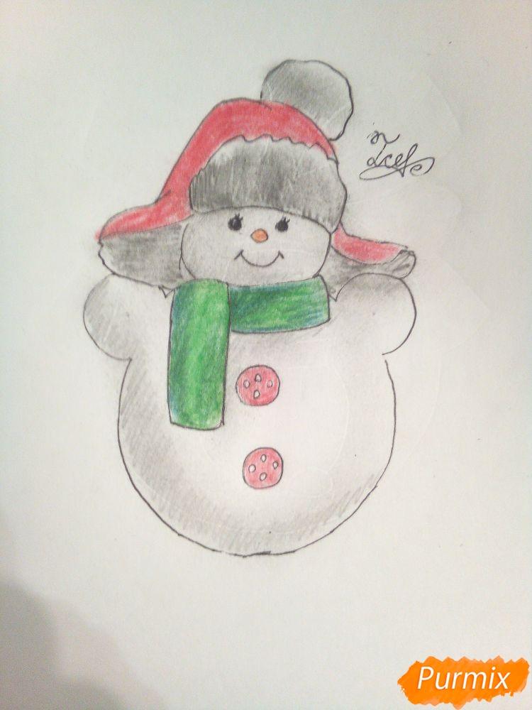 Рисуем снеговика в шапке-ушанке - шаг 6