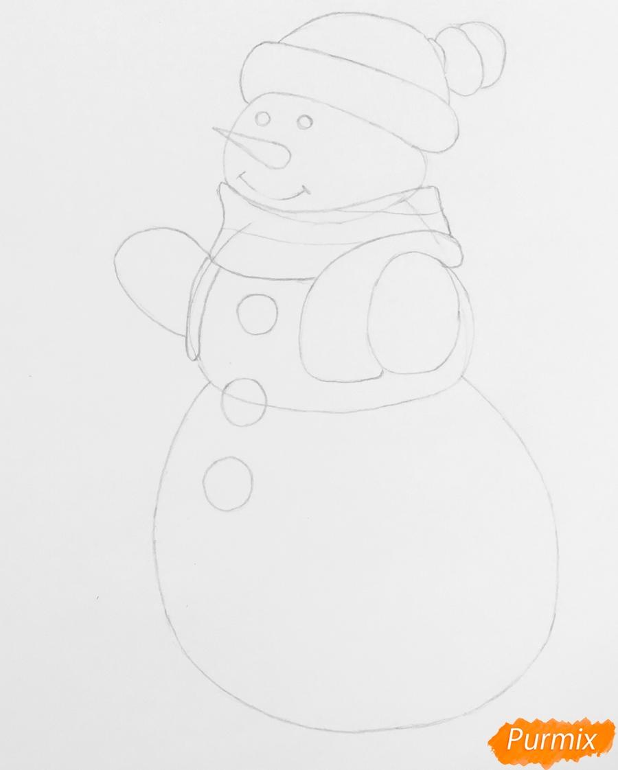 Рисуем снеговика в шапочке в зелёном шарфике и на лыжах - шаг 5