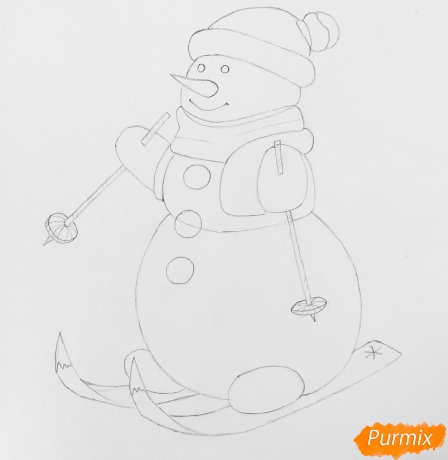 Рисуем снеговика в шапочке в зелёном шарфике и на лыжах - шаг 6