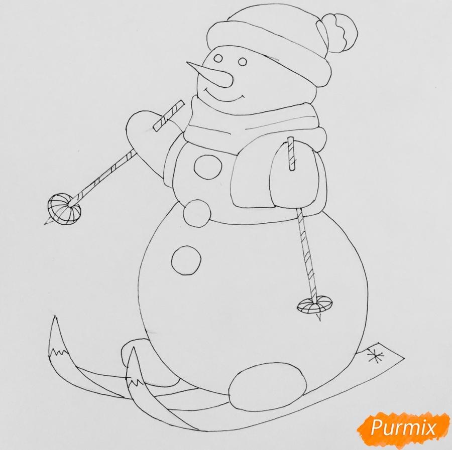 Снеговик нарисовать своими руками