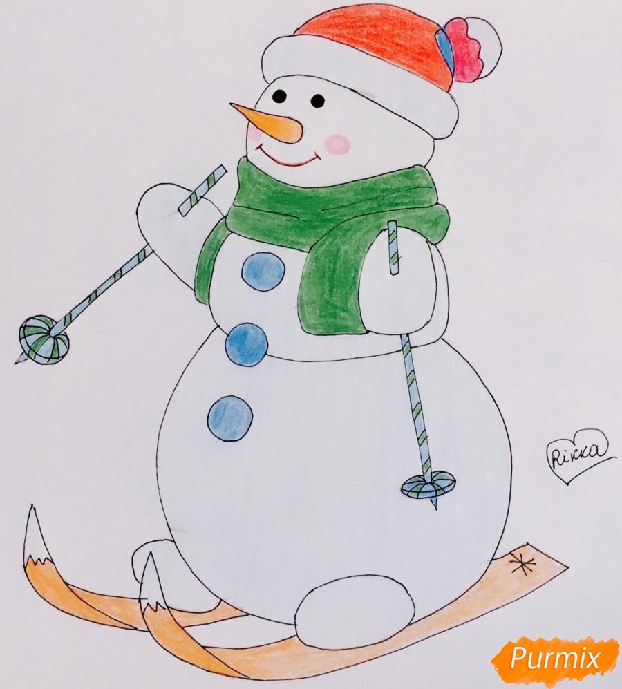 Рисуем снеговика в шапочке в зелёном шарфике и на лыжах - шаг 9