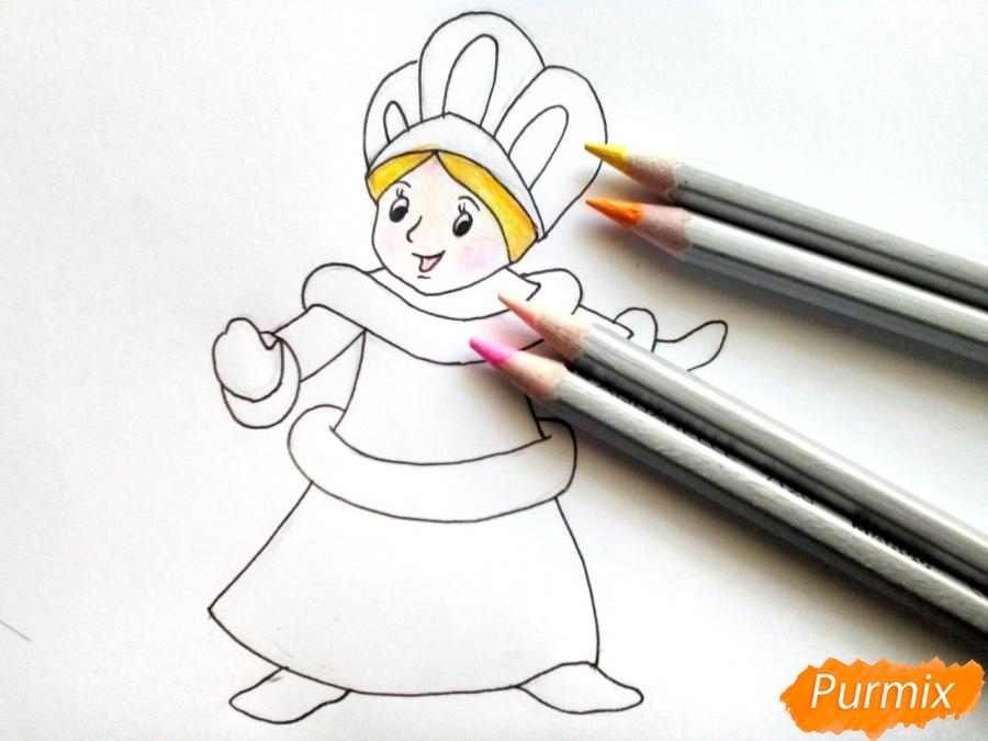 Рисуем Снегурочку легко для детей - шаг 6