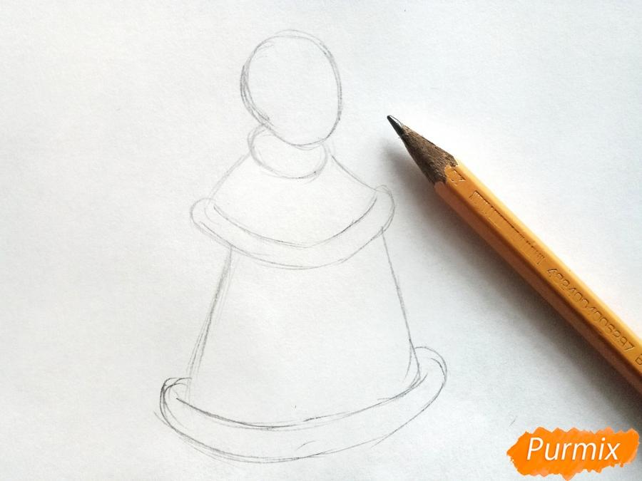 Рисуем Снегурочку с елкой - шаг 1