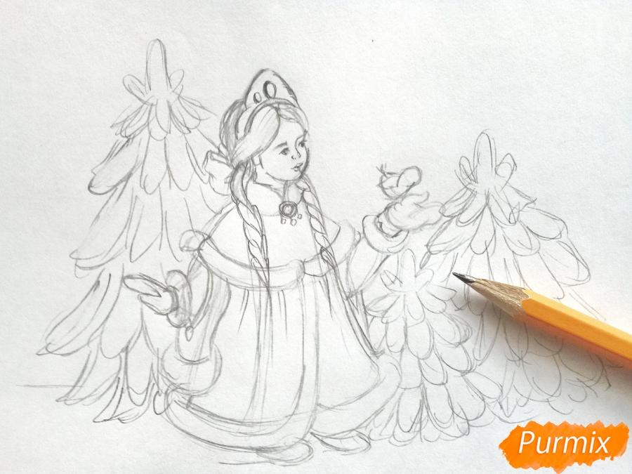 Рисуем Снегурочку с елкой - шаг 4