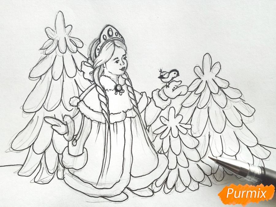 Рисуем Снегурочку с елкой - шаг 5