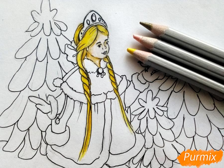 Рисуем Снегурочку с елкой - шаг 6
