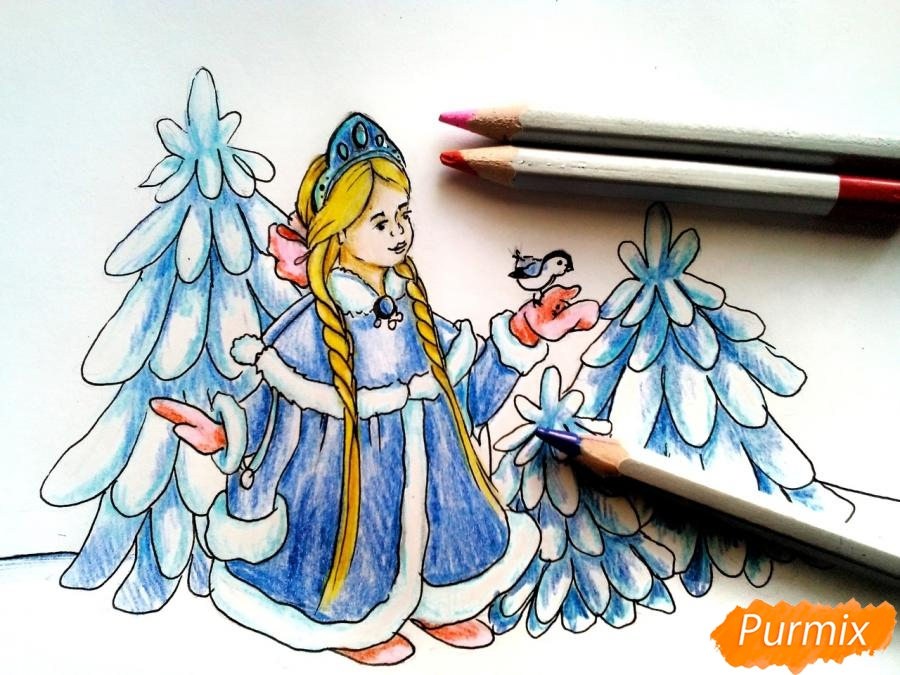 Рисуем Снегурочку с елкой - шаг 8