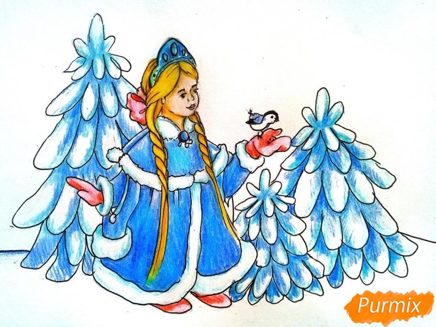 Рисуем Снегурочку с елкой - шаг 9