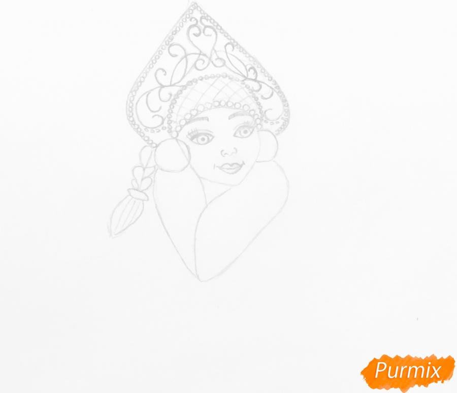 Рисуем снегурочку с волшебной палочкой в руке карандашами - шаг 4