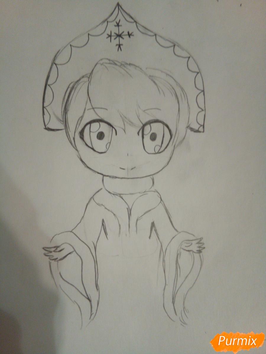 Рисуем снегурочку в стиле чиби - шаг 4