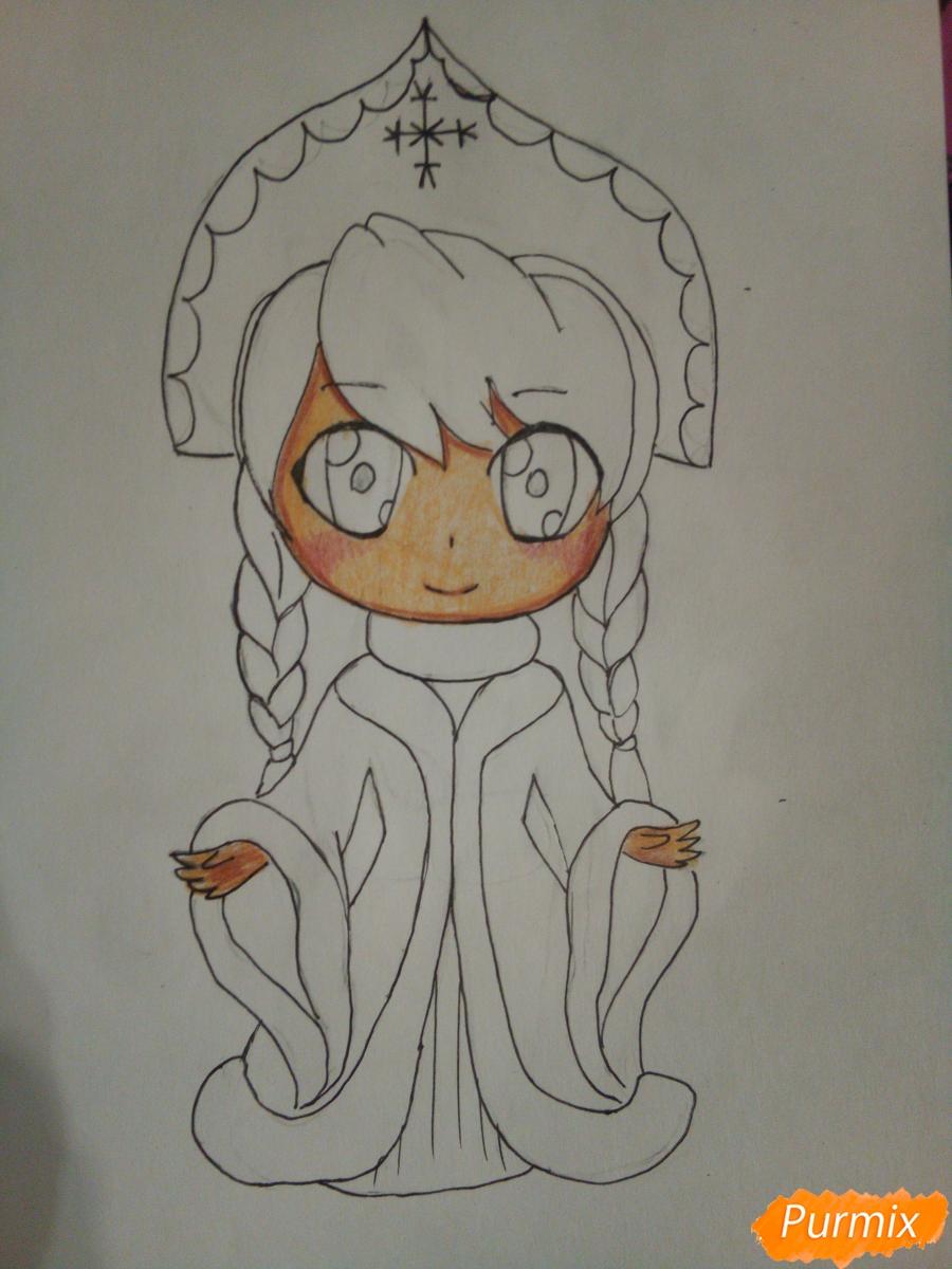 Рисуем снегурочку в стиле чиби - шаг 7