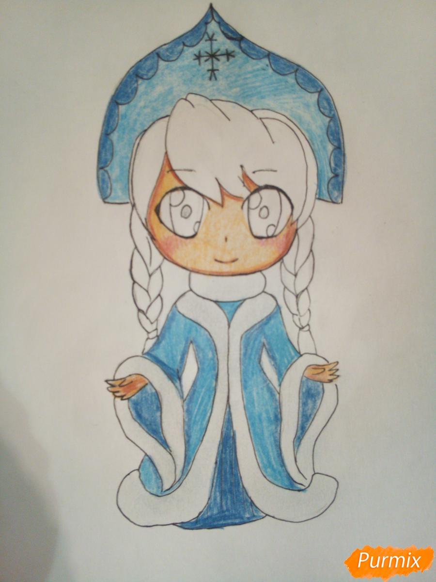 Рисуем снегурочку в стиле чиби - фото 8