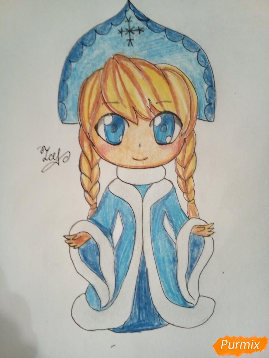 Рисуем снегурочку в стиле чиби - шаг 9