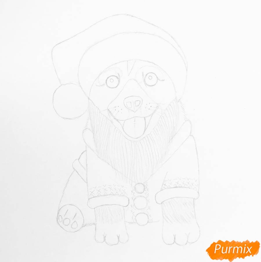Рисуем новогоднюю собаку символ 2018 года - шаг 6