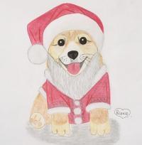 Рисунок новогоднюю собаку символ 2018 года