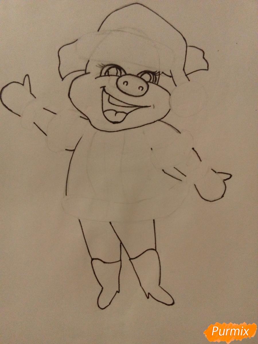 Рисуем свинку в новогоднем костюме в полный рост - шаг 7