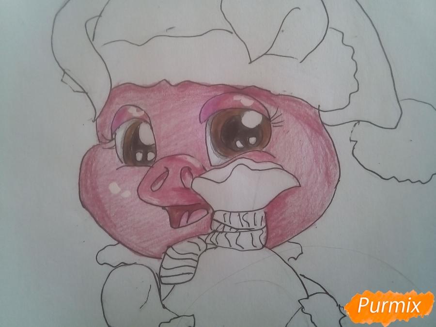 Рисуем свинью символ 2019 года карандашами - шаг 15