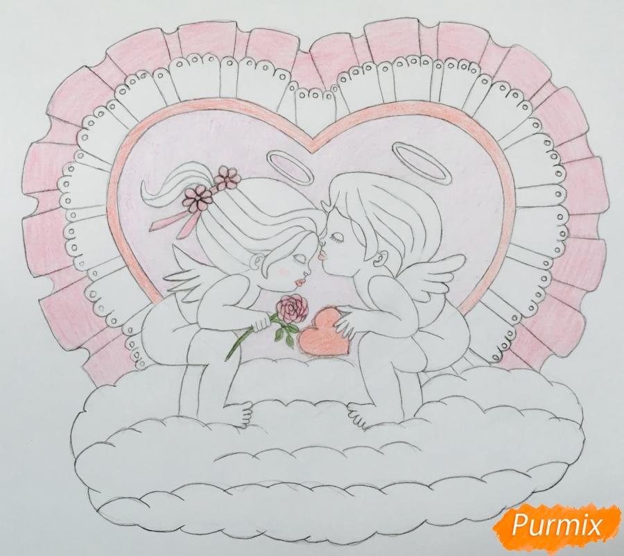 Рисуем валентинку с влюблённой парой ангелочков карандашами - шаг 9