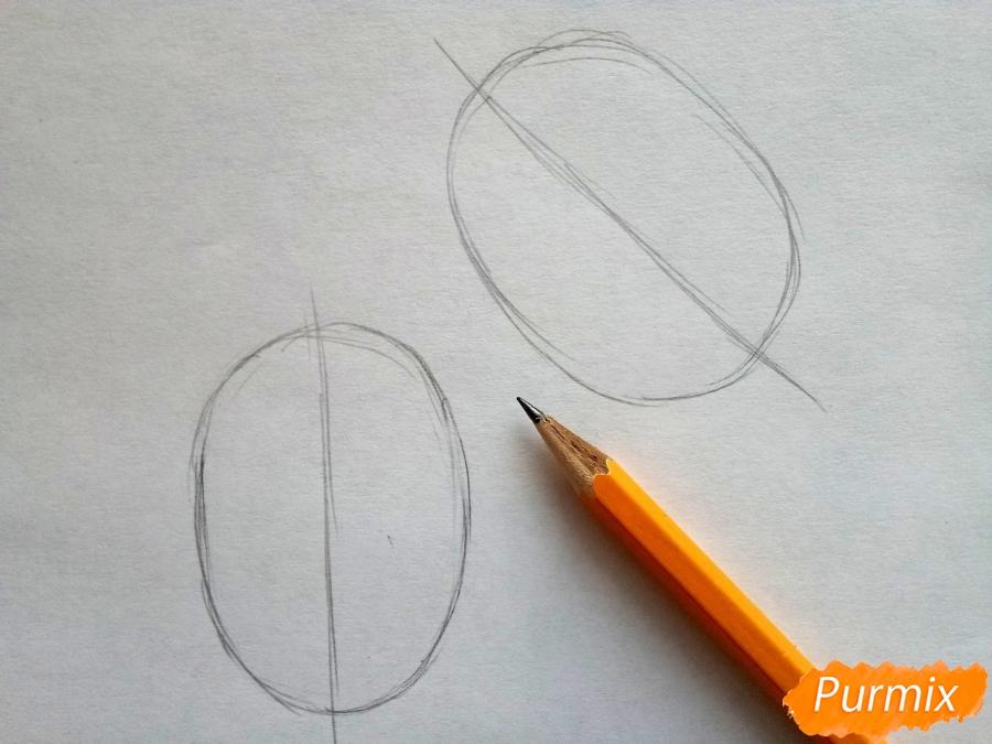 Рисуем варежки карандашами - шаг 1