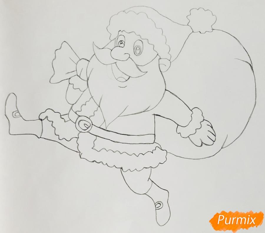Рисуем весёлого Санта Клауса с мешком подарков - фото 5