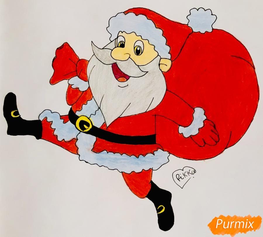 Рисуем весёлого Санта Клауса с мешком подарков - фото 9