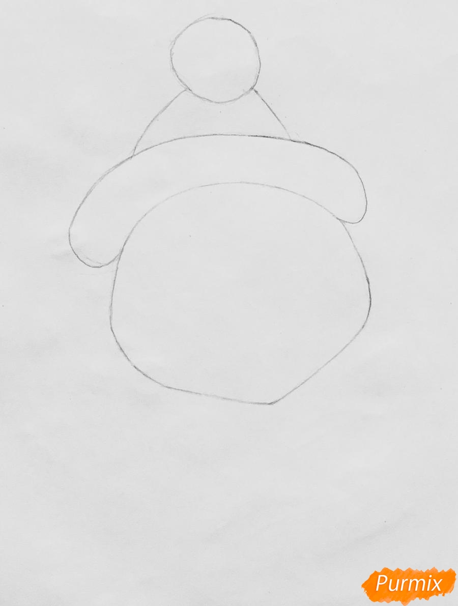 Рисуем весёлую и милую новогоднюю свинку цветными - шаг 2