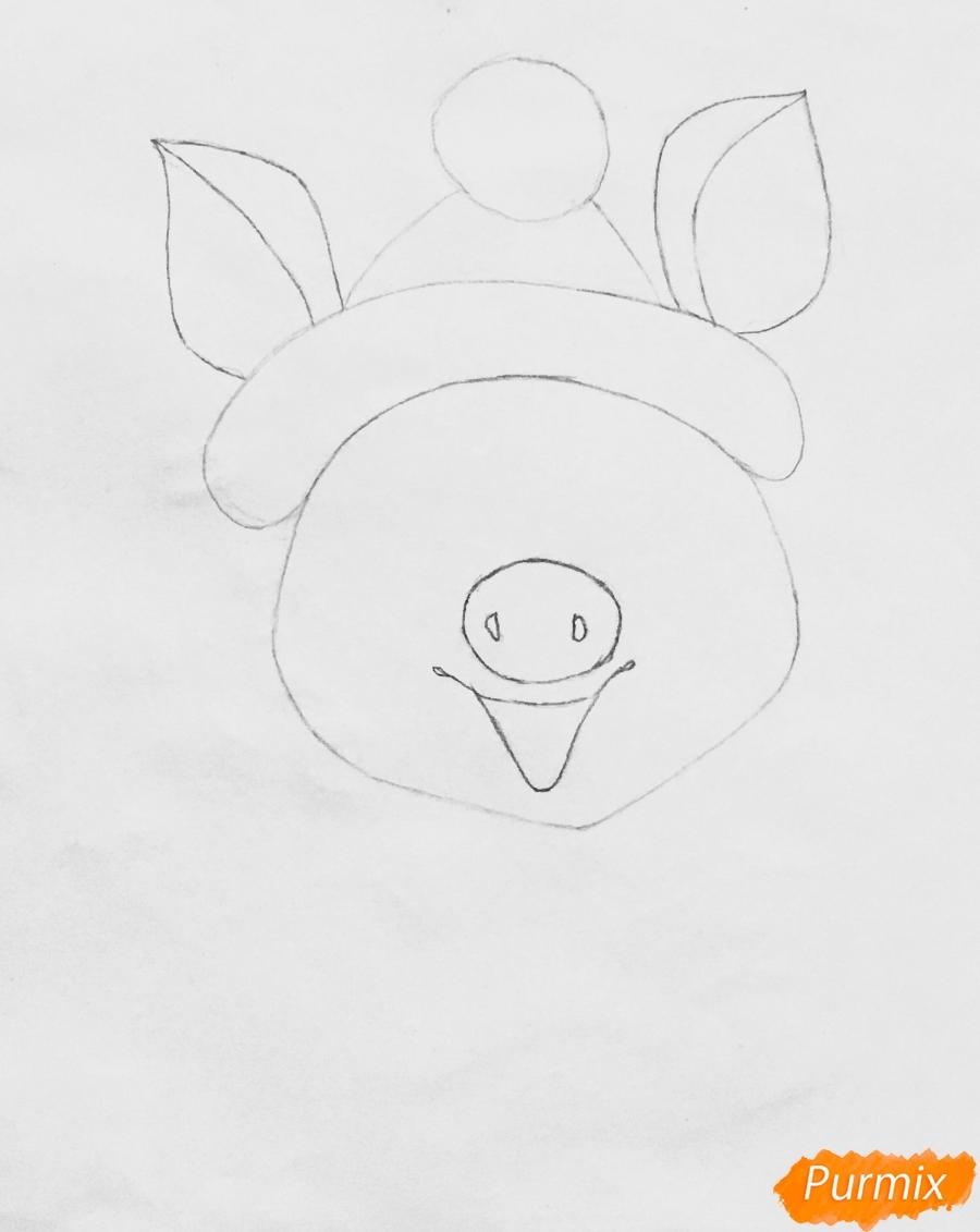 Рисуем весёлую и милую новогоднюю свинку цветными - шаг 3