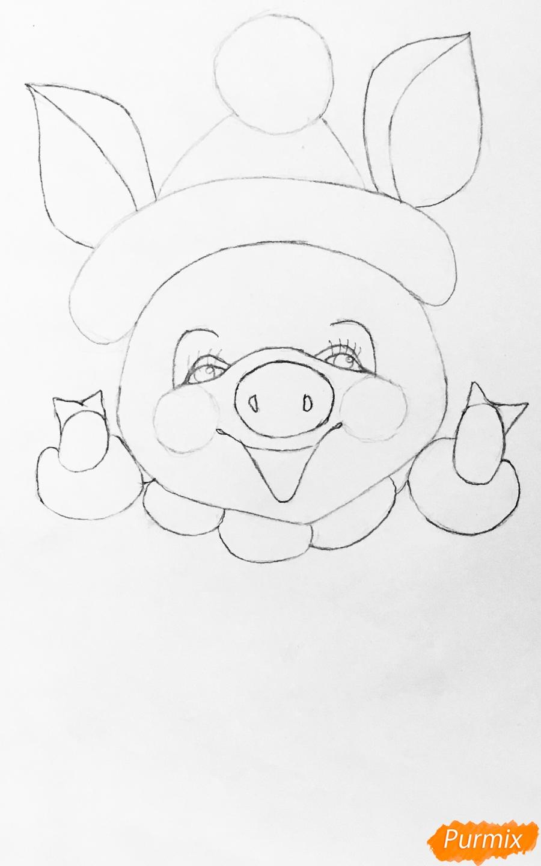 Рисуем весёлую и милую новогоднюю свинку цветными - шаг 5