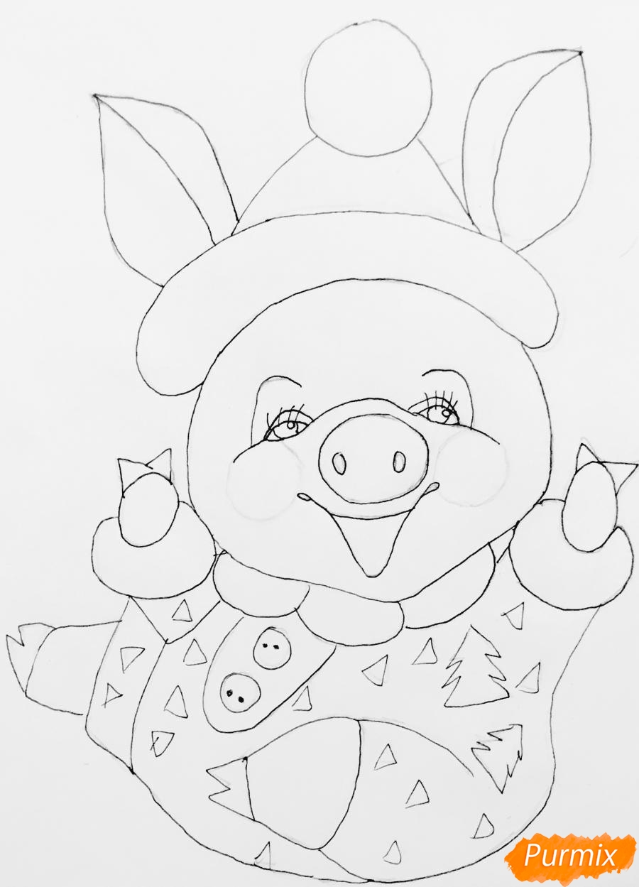 Рисуем весёлую и милую новогоднюю свинку цветными - шаг 8