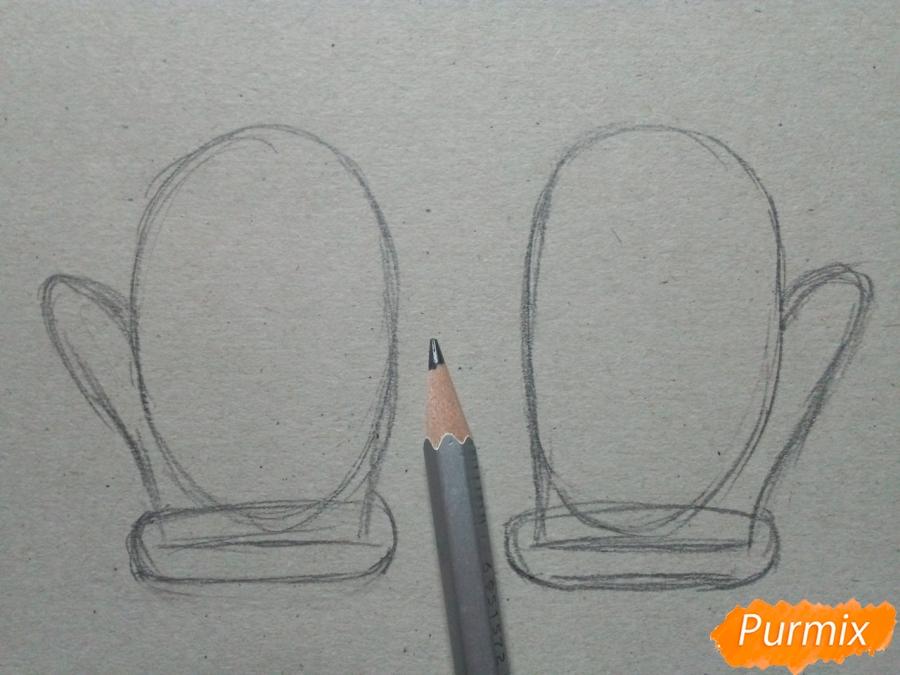 Рисуем зимние варежки просто для детей - шаг 3
